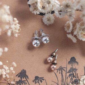 Set of two sphere stud earrings silver, rose gold